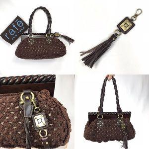 BNWOT RAFE New York Brown Crocheted handbag purse